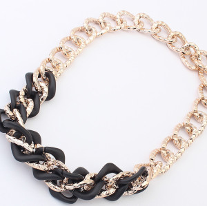 N-3843 European Style Gold Plated CCB Link Chain Choker Necklace