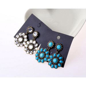 E-3097 Bohemia Style Bronze Alloy Blue Clear Resin Gem Flower Dangle Earrings
