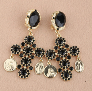 E-3096 European Style Gold Plated Alloy Black Crystal Cross Coin Flower Dangle Earrings