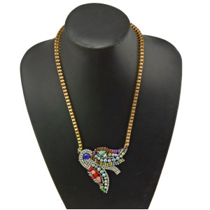 N-3839 New Fashion gold filled  Chain Rhinestone Colorful Crystal Bird Pendant Necklace