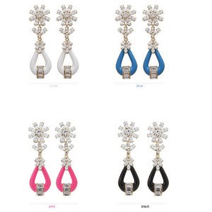 E-3098 Korea style gold plated alloy rose black blue white resin rhinestone flower stud dangle earrings