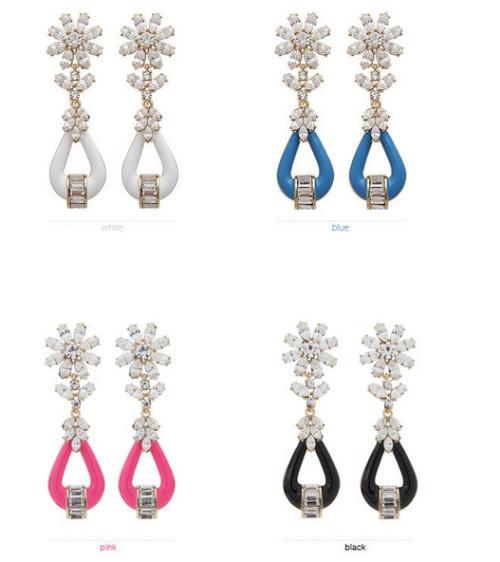 E-3098 Korea style gold plated alloy rose black blue white resin rhinestone flower stud dangle earrings