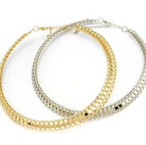 N-3842 European Style Silver Gold Plated Alloy Hoop Collar Choker Necklace
