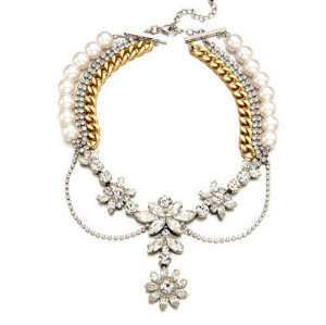 N-3835 European Style Silver Gold Plated Alloy  Pearl Rhinestone multilayer Chains Crystal Flower Choker Necklace
