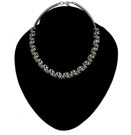 N-3841 European Style Gun Black Gold Plated Alloy Spring Rhinestone Hoop Choker Necklace