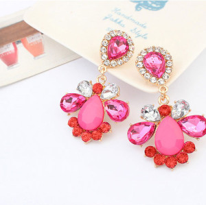 E-3102 Fashion Style Gold Plated Alloy Drop Crystal Rhinestone Flower Dangle Earrings