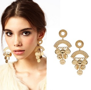 E-3103 Fashion Style Gold Plated Alloy Drop Coin Dangle Earrings