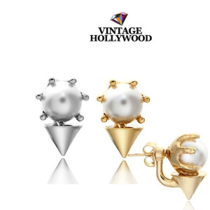 E-3104 Korea Style Gold Silver  Plated Alloy Pearl Rivets Small Earrings