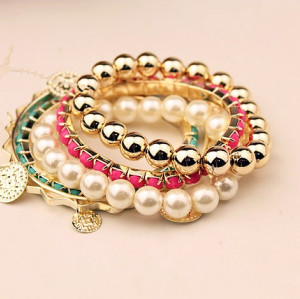 B-0350  Korea Style Multilayer 5Pcs/set Pearl Beads Resin Gem Coin Bangle Bracelets Set