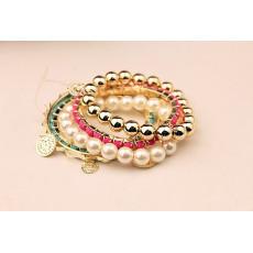 B-0350  Korea Style Multilayer 5Pcs/set Pearl Beads Resin Gem Coin Bangle Bracelets Set