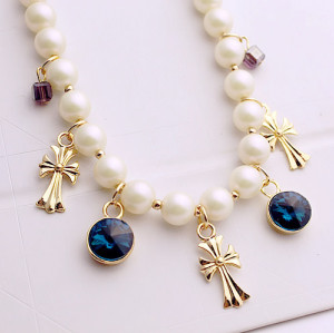 N-3853 Korea style Pearl Chain Cube Round Crystal Crosses Tassels Necklace