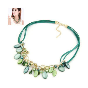 N-3854 Korea style Summer Jewelry Leather Chain Crystal Shell Tassels Necklace