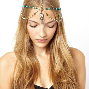 F-0148 European Style Bronze Metal Pearl Blue Wood Beads Rhinestone Carving Drop Tassels Hairband Headband