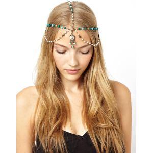 F-0148 European Style Bronze Metal Pearl Blue Wood Beads Rhinestone Carving Drop Tassels Hairband Headband