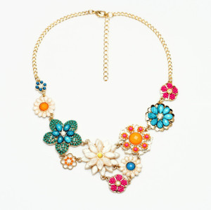 N-3851 Spring style Gold Plated Link Chain Colorful Beads Resin Gem Flowers Necklace