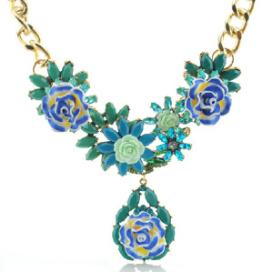 N-3869 Europe Style Gold Plated Alloy Colorful Resin Gem Crystal Flower Leaves Link Chain Necklace