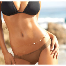 N-3868 Europe vintage  Gold/Silver  Plated white pearl  bikini  sexy Body Chain belly Waist