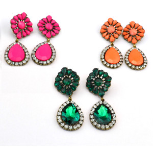 E-3113 Vintage style Bronze Alloy Crystal Rhinestone Flower Drop Dangle Earrings