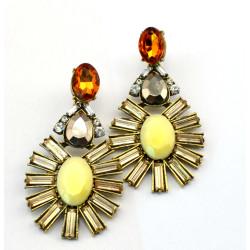 E-3114 European style Golden Alloy Crystal Rhinestone Resin Gem Flower Drop Dangle Earrings