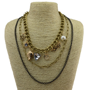 N-3859 Europe Vintage Triangle skull pearl star letter mix pendant multilayer chain statement chunky  Necklace