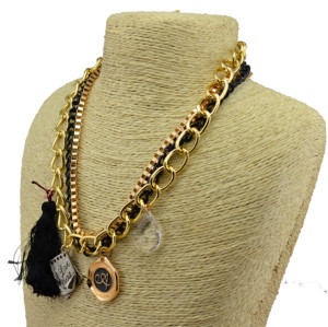N-3862 Punk style multilayer chains crystal drop cards tassels pendant necklace