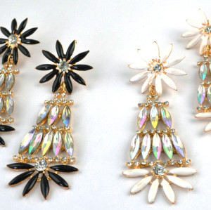 E-3110 European Style Gold Plated Enamel Rhinestone Crystal Flower Dangle Earrings