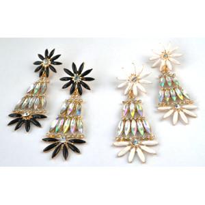 E-3110 European Style Gold Plated Enamel Rhinestone Crystal Flower Dangle Earrings