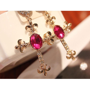E-3115 European  Gold Plated  Rhinestone Crystal Bead Flower Dangle Cross Earrings Brinco