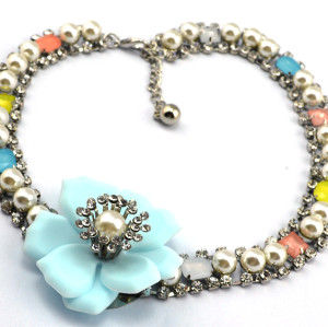 N-3877 Korea Style Gun Black Chain Pearl Rhinestone Big Flower Necklace