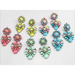 E-3121 5 colors Shourouk crystal earrings designer luxury big flower fashion women long drop earring vintage brass jewelry