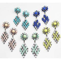 E-3120 Europea style lucury crystal resin leaves crystal flower fashion designer vintage statement earrings