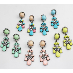 E-3118 Europea style Bronze Alloy Crystal Resin Sun Flower Drop Dangel Earrings