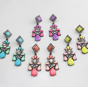 E-3119 4Colors Europea Style Bronze Alloy Crystal Square Resin Flower Drop Dangel Earrings
