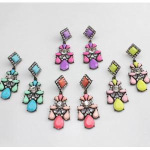 E-3119 4Colors Europea Style Bronze Alloy Crystal Square Resin Flower Drop Dangel Earrings