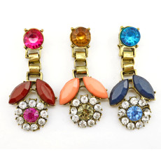 E-3135 Fashion bronze alloy rhinestone resin gem flower movable lovely earrings for girls
