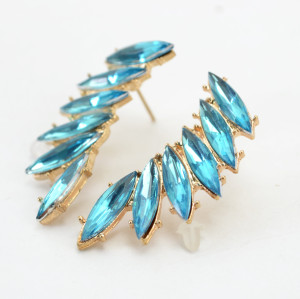 E-3129 Korea Style Gold Plated Alloy colorful  Rhinestone leaf  flower Earrings brinco women 2 colors