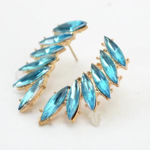 E-3129 Korea Style Gold Plated Alloy colorful  Rhinestone leaf  flower Earrings brinco women 2 colors