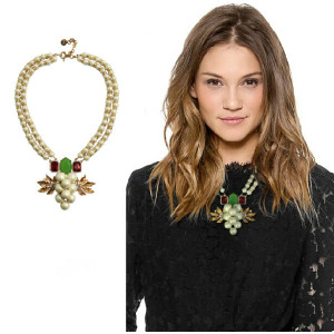 N-3883 New Arrive Fashion Double Chain Gold Plated Crystal Rhinestone Leaves Pearl Grape Statement Necklace