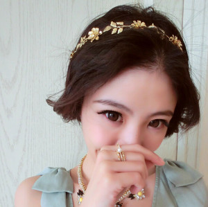 F-0151 korea gold plated alloy flower leaf rhinestone  hair band