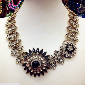 N-3884 2014 new High Quality gold plated women big fashion chain necklace costume choker flower Necklaces & Pendants luxury statement jewelry women