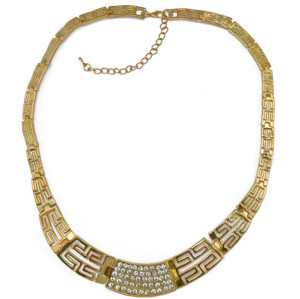 N-3887 Fashion Gold Plate Alloy Ancient City Wall Shape Chain Hollow Out Rhinestone Choker Necklace
