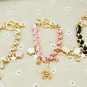 B-0358 New Arrival Korea Style Woven Handmade Leather Chain Stars Hearts Cards Eiffel Tower Pendants Bracelet For Girls