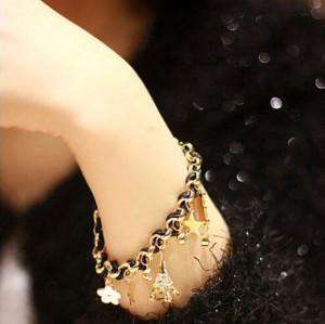 B-0358 New Arrival Korea Style Woven Handmade Leather Chain Stars Hearts Cards Eiffel Tower Pendants Bracelet For Girls