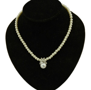N-3888 fashion pearl chain silver plated X rhinestone pearl pendant necklace