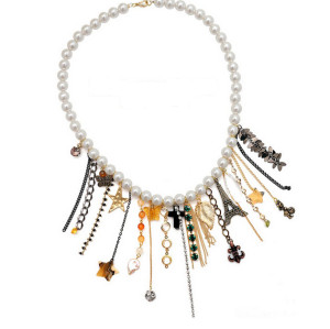 N-3886 fashion pearl chain crystal heart butterfly stars crosses leaf drop tower girl pendant multielement necklace
