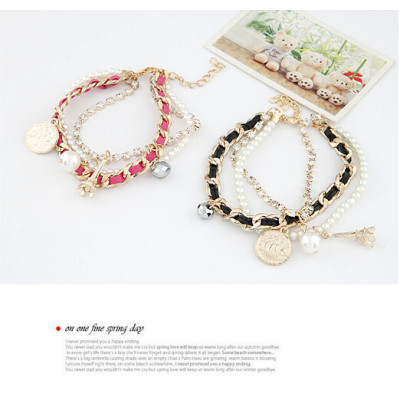 B-0357 New Arrival Korea Style Multilayer mix style pearl coin Eiffel Tower rope gold plated chain Bracelet