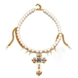 N-3885 Korea Style vintage hollywood Luster White Beads Golden Brilliant Multi-color Crystal Crosses Tassels Pendant Necklace