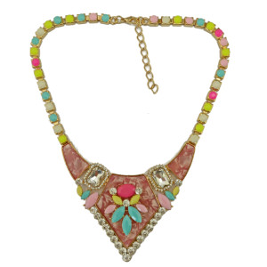 N-3893 Korea Style  Resin Gem Chain Gold Plated Alloy Rhinestone Crystal Triangle Flower Pendant Necklace