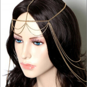 F-0156 European Style Gold Plated Alloy Chains Tasels Hair Band Hair Accessories