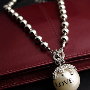 N-3892 Korea Style Gold Silver Plated Beaded Chain Love Pearl Rhinestone Fruit Pendant Necklace